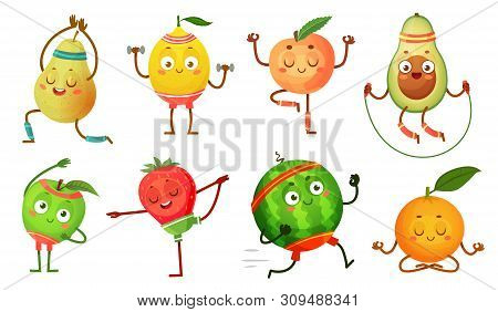 Fruit Characters Yoga. Fruits In Fitness Exercises Poses, Wellness Food And Funny Sport Fruit. Tropi