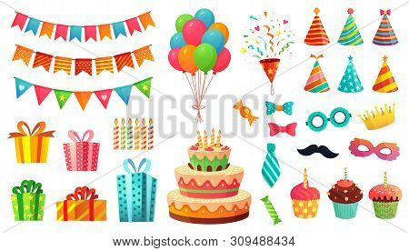 Cartoon Birthday Party Decorations. Gifts Presents, Sweet Cupcakes And Celebration Cake. Colorful Ba