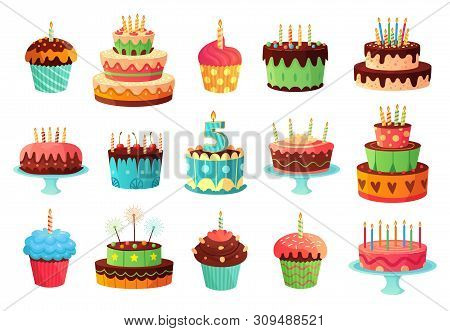 Cartoon Birthday Party Cakes. Sweet Baked Cake, Colourful Cupcakes And Celebration Cakes. Birthdays