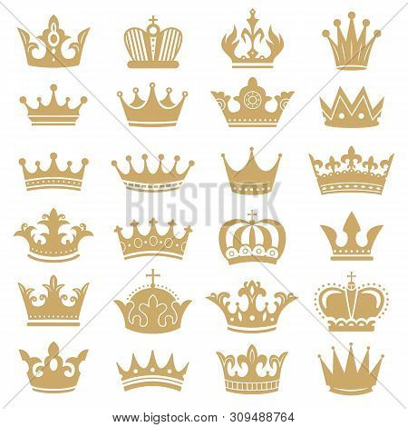 Gold Crown Silhouette. Royal Crowns, Coronation King And Luxury Queen Tiara Silhouettes. Golden Mona