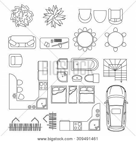 Collection Of Furniture And Equipment Top View For House Plan. Interior Icons Set For Bathrooms And