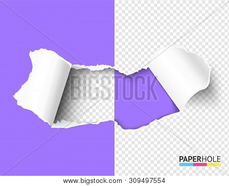 Halfed blank teared paper hole with rip edges on transparent background for poster revealing ad message of sale promo poster