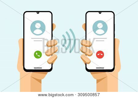 Smartphone Mockup In Human Hand. Accept And Decline The Phone Call. Call From Phone To Phone. Vector