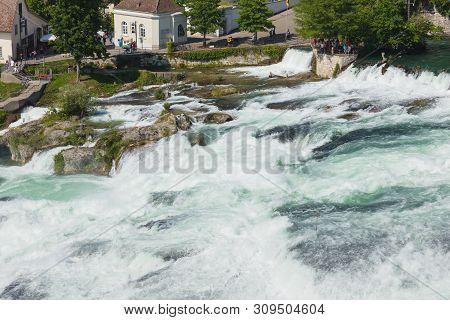 Laufen, Switzerland - June 7, 2019: The Rhine Falls Waterfall. The Rhine Falls Waterfall (german: Rh