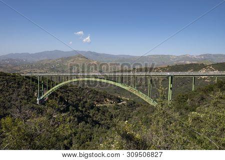 Cold Springs Bridge in Southern California near Santa Barbara, USA poster