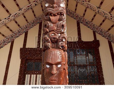 Wharenui Or Maori Meeting House, Tamatekapua Marae, Ohinemutu, Te Arawa Tribe, Rotorua, Rotorua Dist