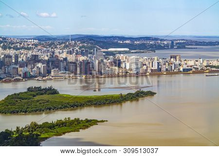 Scenic Aerial View Of Porto Alegre In Brazil