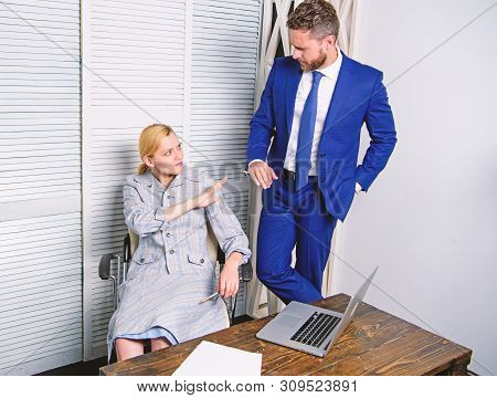 Sexual Harassment At Work. Sexual Harassment Between Colleagues And Flirting In Office. Lustful Boss