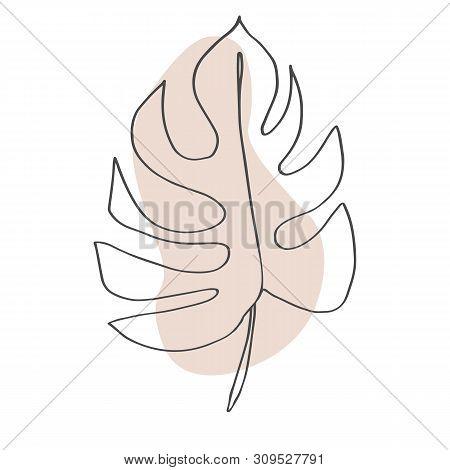 Contour Line Drawing Leaf Of Monstera.  Modern Minimalism Art, Aesthetic Contour. Pastel Scandinavia
