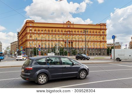 Moscow, Russia - June 02, 2019: Building Of Kgb On Lubyanka Square In Moscow. Architecture Of The Hi