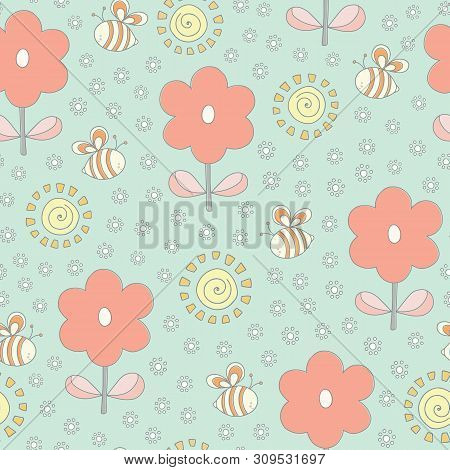 Seamless Repeat Of Bees, Flowers And Sunshine. A Sweet Hand Drawn Vector Floral And Pollinator Desig