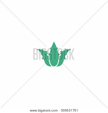 Green Aloe Vera With Prickles Or Spikes Icon. Medical, Cosmetic, Health Care Label.