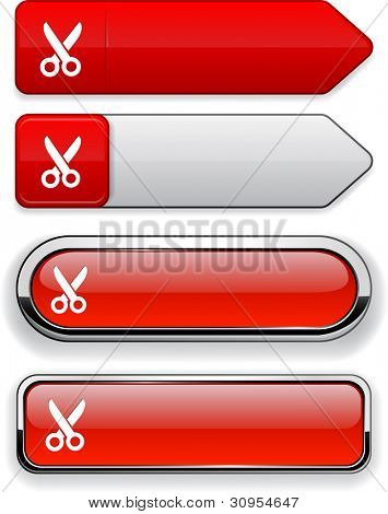Cut red design elements for website or app. Vector eps10.