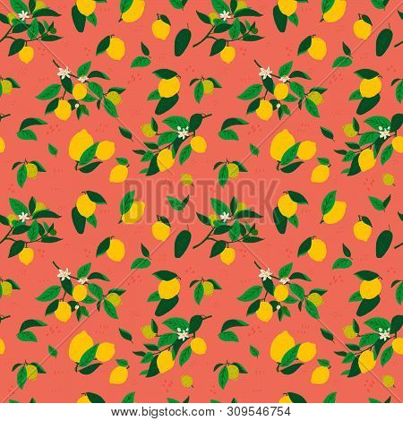 Repeating Flat Style Lemon Fruits, Flowers And Leaves On Coral Background With Doodle Elements. Seam