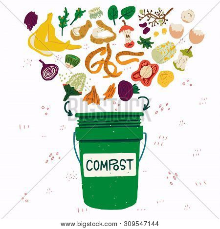 Flat Style Vegetable Kitchen Scraps And Green Compost Bin On Background With Doodles. Organic Waste