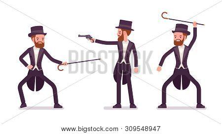 Gentleman In Black Tuxedo Practice Bartitsu Self Defense. High Social Rank Man, Fashionable Dandy In