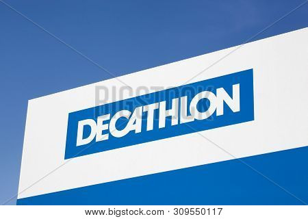 Saint Egreve, France - June 19, 2019: Decathlon Sign On A Panel. Decathlon Is A French Company And O