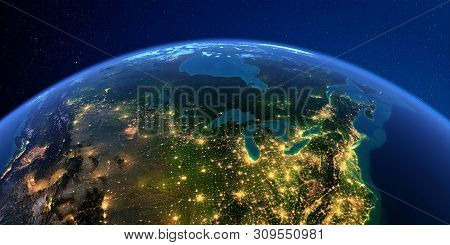 Planet Earth With Detailed Exaggerated Relief At Night Lit By The Lights Of Cities. Detailed Earth A