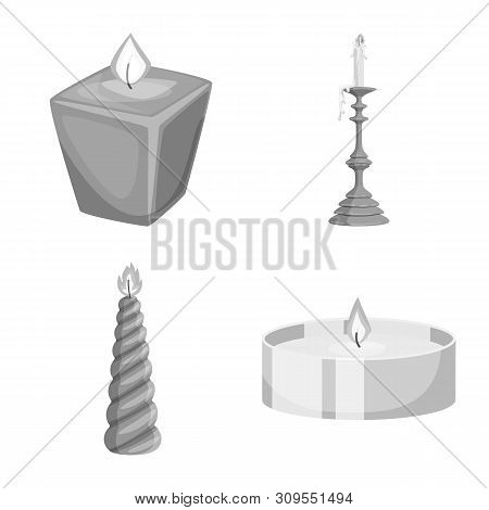 Vector Illustration Of Paraffin And Fire Symbol. Collection Of Paraffin And Decoration Stock Vector