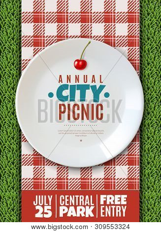 Realistic Plate Poster. Vertical Poster Invitation To The Annual City Picnic Family Holiday Banner W