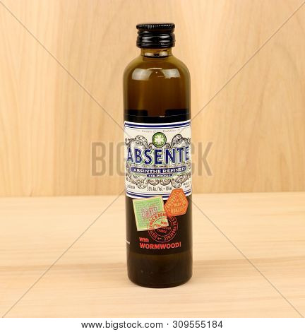 Spencer, Wisconsin, July,1, 2019    Bottle Of Absente Refined Liquer  Absente Is A Highly Alcohol In
