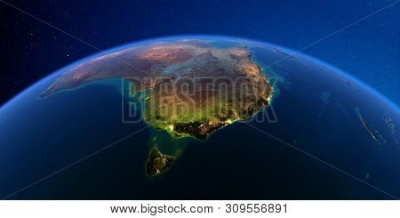 Planet Earth With Detailed Exaggerated Relief At Night Lit By The Lights Of Cities. Australia And Ta