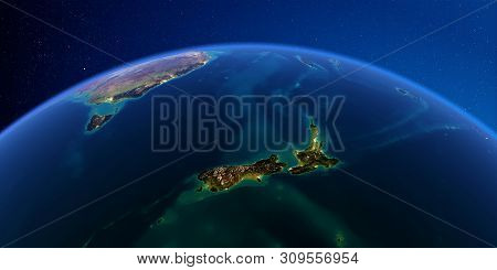 Planet Earth With Detailed Exaggerated Relief At Night Lit By The Lights Of Cities. New Zealand. 3d