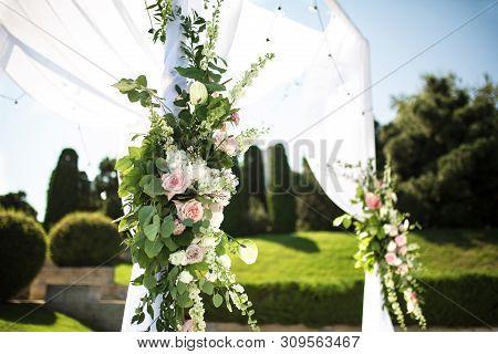 Beautiful Outgoing Wedding Set Up. Jewish Hupa  On Romantic Wedding Ceremony , Wedding Outdoor On Th