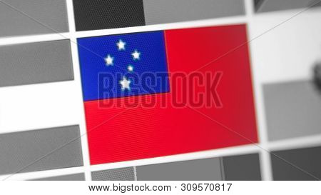 Samoa National Flag Of Country. Samoa Flag On The Display, A Digital Moire Effect. News Of Geography