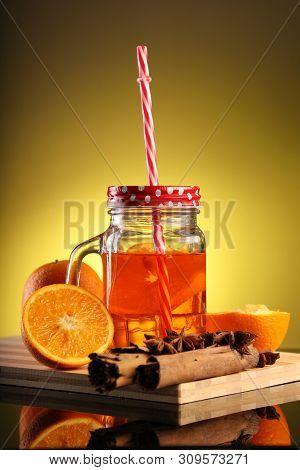 Healthy Infused Orange Detox Drink In A Mason Jar