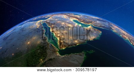 Planet Earth With Detailed Exaggerated Relief At Night Lit By The Lights Of Cities. Saudi Arabia. 3d