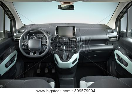 Studio Shot Of The Modern Van Interior, Front View