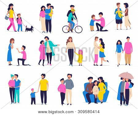 Family Leisure And Activity. Vector Illustration With Couples, Families With Children And Friends In