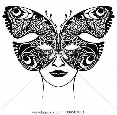 Masquerade Mask . Venetian Lacy Butterfly Filigree Mask Template