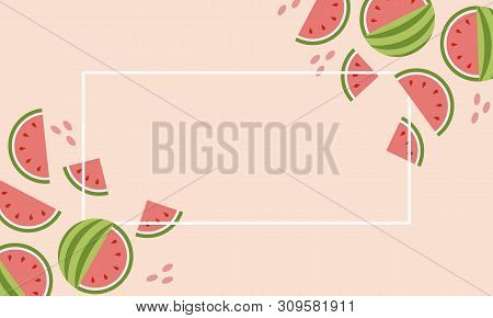 Abstract Set With Colorful Summer Sale Watermelon Banner On Pink Background For Concept Design.