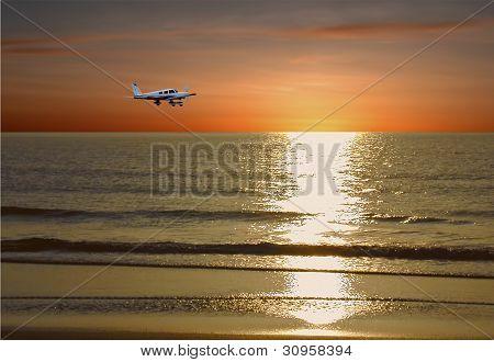 Private Plane In Flight