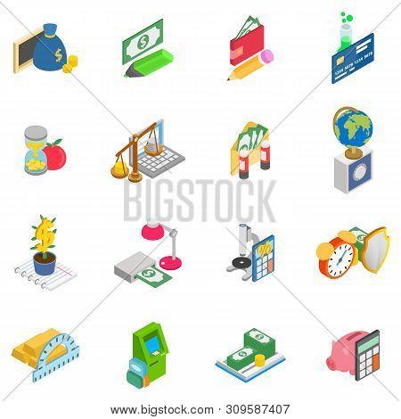 Monetary Training Icons Set. Isometric Set Of 16 Monetary Training Vector Icons For Web Isolated On