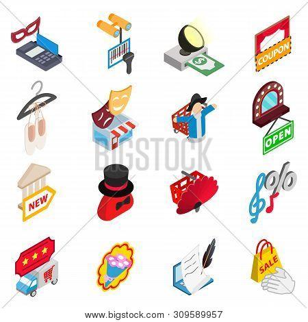 Monetary Performance Icons Set. Isometric Set Of 16 Monetary Performance Vector Icons For Web Isolat