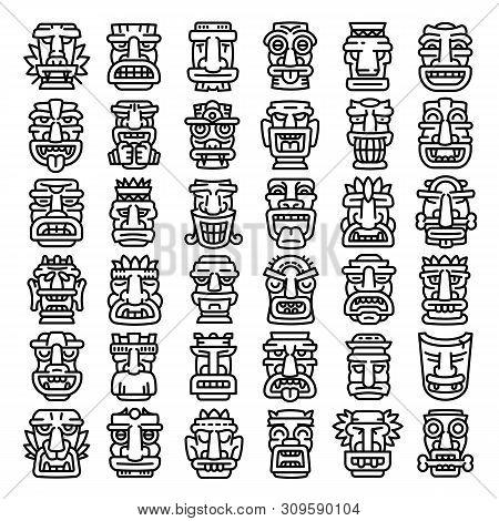 Tiki Idols Icons Set. Outline Set Of Tiki Idols Vector Icons For Web Design Isolated On White Backgr