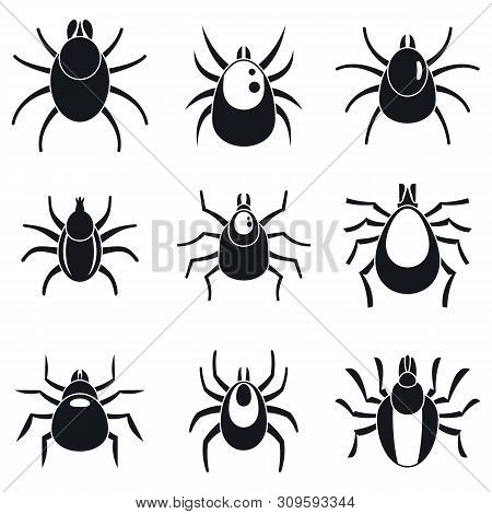 Mite Insect Icons Set. Simple Set Of Mite Insect Vector Icons For Web Design On White Background