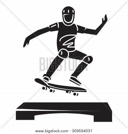 Young Skater Trick Icon. Simple Illustration Of Young Skater Trick Vector Icon For Web Design Isolat