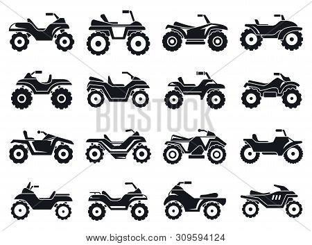 Race Quad Bike Icons Set. Simple Set Of Race Quad Bike Vector Icons For Web Design On White Backgrou
