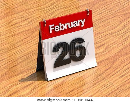 Calendar On Desk - February 26Th