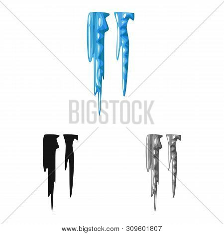 Vector Illustration Of Icicle And Ice Sign. Set Of Icicle And Froze Vector Icon For Stock.