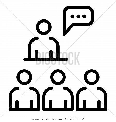 Conference Speech Icon. Outline Conference Speech Vector Icon For Web Design Isolated On White Backg