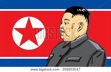 Moscow, Russia - 06 30 2019: Dprk Leader Kim Jong Un, Against The Flag, Portrait.