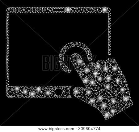 Bright Mesh Hand Touch Pda With Glare Effect. Abstract Illuminated Model Of Hand Touch Pda Icon. Shi
