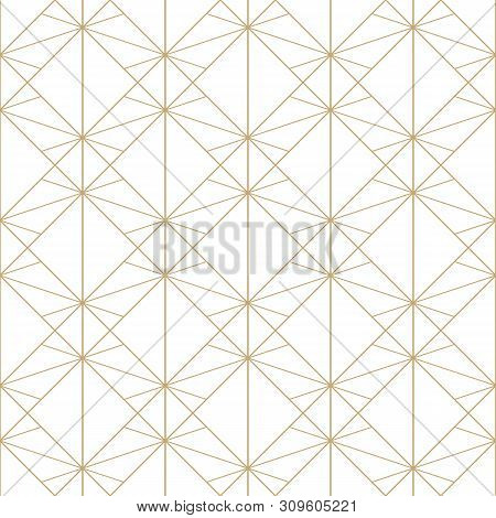 Golden Lines Pattern. Vector Geometric Seamless Texture With Delicate Grid, Thin Lines, Diamonds, Rh