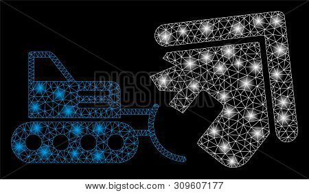 Glowing Mesh House Demolition With Sparkle Effect. Abstract Illuminated Model Of House Demolition Ic