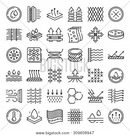 Fabric Feature Icons Set. Outline Set Of Fabric Feature Vector Icons For Web Design Isolated On Whit